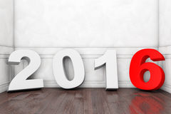 2016 New Year Sign in Empty Room Royalty Free Stock Images