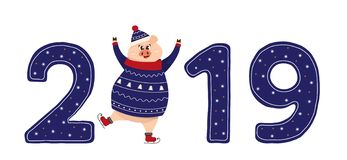 Cute pig character. 2019 New Year symbol. New year sign 2019 with funny pig in cozzy christmas pullover skating. Text 2019 in blue color. Used as logo, emblem stock illustration