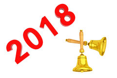 New Year 2018 Sign with Golden Bells. 3d Rendering Royalty Free Stock Photos