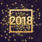 2018 New Year Sign Golden Glittering Over Night Sky Background. Vector Illustration Stock Photography