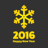 New Year 2016 sign. New Year 2016 golden sign with snowflake Royalty Free Stock Images