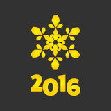 New Year 2016 sign. New Year 2016 golden sign with snowflake Stock Photography