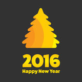 New Year 2016 sign. New Year 2016 golden sign with tree stock illustration