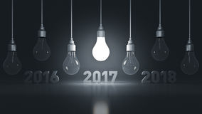 2017 New Year sign inside light bulbs. 3D rendering vector illustration
