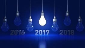 2017 New Year sign inside light bulbs. 3D rendering royalty free illustration