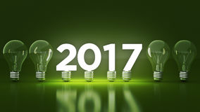 2017 New Year sign inside light bulbs. 3D rendering stock illustration