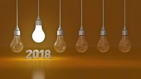 2018 New Year sign inside light bulbs. 3D rendering vector illustration