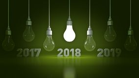 2018 New Year sign inside light bulbs. 3D rendering stock illustration