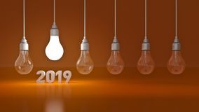 2019 New Year sign inside light bulbs. 3D rendering stock illustration