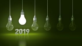 2019 New Year sign inside light bulbs. 3D rendering royalty free illustration