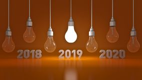 2019 New Year sign inside light bulbs. 3D rendering vector illustration