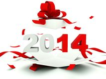 2014 New Year sign inside the present Royalty Free Stock Images