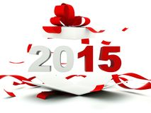 2015 New Year sign inside the present. On white Stock Images