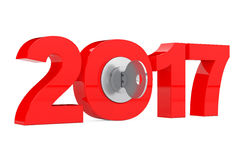 New 2017 Year Sign with Key. 3d Rendering. New 2017 Year Sign with Key on a white background. 3d Rendering Stock Illustration