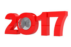 New 2017 Year Sign with Key. 3d Rendering. New 2017 Year Sign with Key on a white background. 3d Rendering Vector Illustration