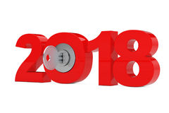 New 2018 Year Sign with Key. 3d Rendering Stock Photography