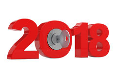 New 2018 Year Sign with Key. 3d Rendering Stock Photos