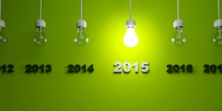 2015 New Year sign with light bulb. On green background Royalty Free Stock Photos