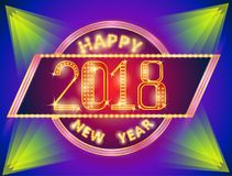 New year sign with light. Retro merry christmas and happy new year sign with light vector illustration stock illustration