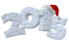 New Year 2015 sign made of snow with Santa hat. New Year 2015 sign made of snow with Santa Claus red hat isolated on white background 3d illustration Stock Image