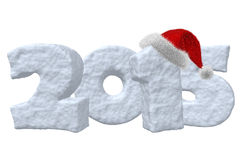 New Year 2015 sign made of snow with Santa hat. New Year 2015 sign made of snow with Santa Claus red hat isolated on white background 3d illustration Royalty Free Stock Photography