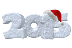 New Year 2015 sign made of snow with Santa hat Royalty Free Stock Photography
