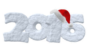 New Year 2016 sign made of snow with Santa hat Stock Photography