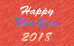 2018 new year sign over a textured red background. Happy new year 2018 colorful textured text over rough texture, weather worn red pattern for festive and stock illustration