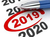 New year sign 2019 and pen. 3d illustration stock illustration