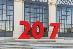 New year sign for photography in Palace Belvedere in Vienna Aust Royalty Free Stock Photos