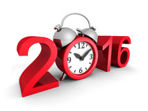 New Year 2016 Sign With Red Alarm Clock. 3d Render Illustration Stock Photo