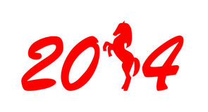 New Year sign 2014. Red numbers with horse silhouette on white background Stock Photos