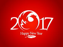 New year 2017 sign with red rooster silhouette Stock Photography