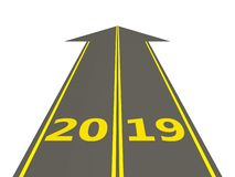 2019 New year sign on a road. 3D illustration royalty free illustration