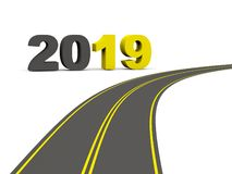 2019 New year sign on a road. 3D illustration vector illustration