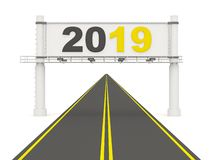 2019 New year sign on a road. 3D illustration stock illustration