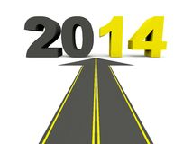 2014 New Year sign on the road. Isolated on white Royalty Free Stock Photo