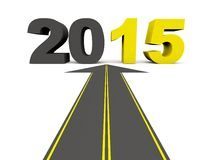 2015 New Year sign on the road. Isolated on white stock illustration