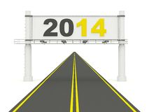 2014 New Year sign on the road. On white Stock Image