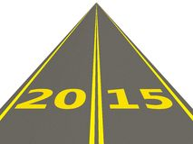 2015 New Year sign on the road. On white Royalty Free Stock Image