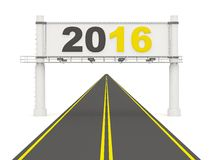 2016 New Year sign on the road. On white Royalty Free Stock Photos