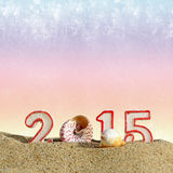 New year 2015 sign on sand Royalty Free Stock Photos