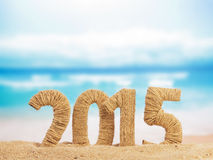 New year sign 2015 on sand Stock Images