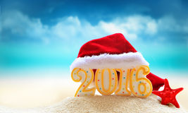 New year 2016 sign with  Santa Claus hat Royalty Free Stock Photo