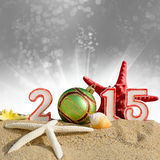 New year 2015 sign with seashells, starfish and christmas ball Stock Photos