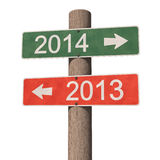 New Year 2014 sign. 2013 and 2014 signboard. 3d illustration stock illustration