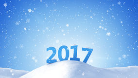 New year 2017 sign in snow drift Royalty Free Stock Photos