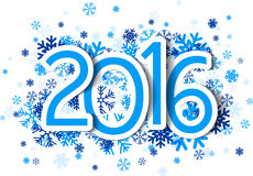 2016 New Year sign. With snowflakes. Vector paper illustration Royalty Free Stock Photos