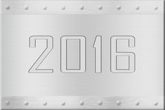 New year sign. Stainless steel brushed metal plaque with the numbers 2016 engraved on it Stock Photography