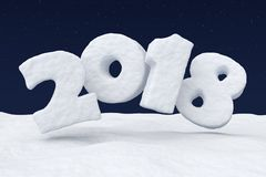 2018 snow text over snow surface under night sky with stars. 2018 New Year sign text written with numbers made of snow over snowy field at night under cold north Stock Images
